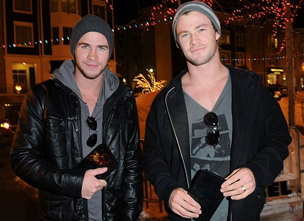 Later that night, Liam and his brother Chris hit up the Samsung Galaxy Tab Lift for some free swag. - Jason Merritt/WireImage.com