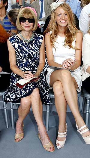 Anna Wintour and Blake Lively sit front row at the Dior fashion show. - Eric Ryan/Getty Images