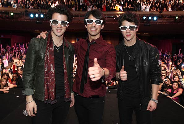 "Kevin, Joe, and Nick Jonas kick off their ""Surprise Theater Invasion Tour"" in Hollywood. - Eric Charbonneau/WireImage.com"