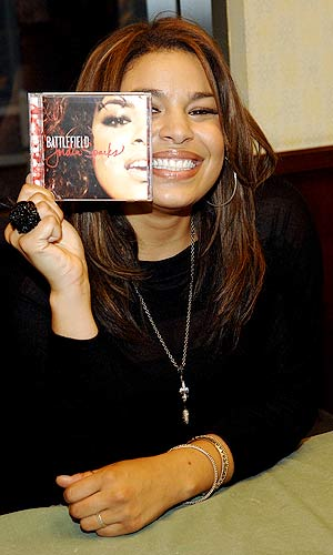 Jordin poses with her latest album, Battlefield . - Duffy-Marie Arnoult/WireImage.com