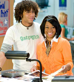 "Chad's (Corbin Bleu) a ""Greenster"" while Taylor (Monique Coleman) dresses for success. - Disney Enterprises, Inc."