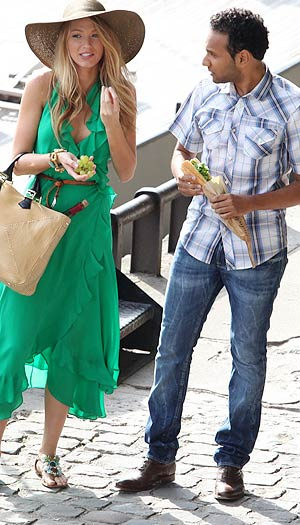 Blake dons a gorgeous emerald green maxi dress, jeweled sandals and floppy hat for a Parisian scene. - PacificCoastNews.com