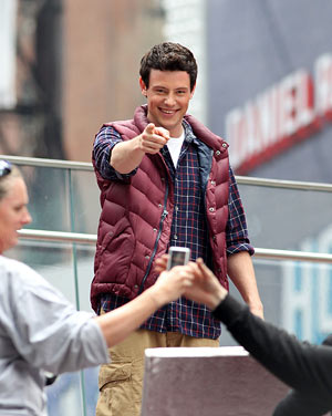 "Cory Monteith clowns around on the NYC set of ""Glee."" - Lisa Mauceri/INFphoto.com"