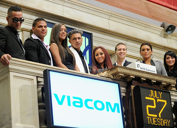 "The ""Jersey Shore"" cast ring the opening bell on the New York Stock Exchange on Tuesday. - Jamie McCarthy/WireImage.com"