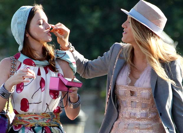 Leighton Meester and Blake Lively on location in Paris, France. - PacificCoastNews.com