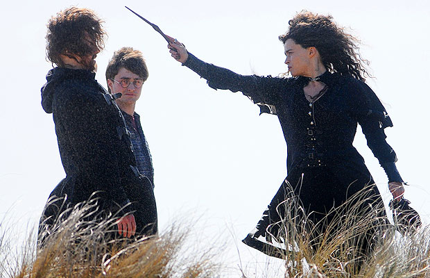 """Don't you point that thing at me!"" Helena Bonham Carter prepares to cast a spell. - Wales News Service/Splash News"