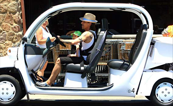 Red Hot Chili Peppers lead singer Anthony Kiedis hops behind the wheel with son Everly. - PacificCoastNews.com