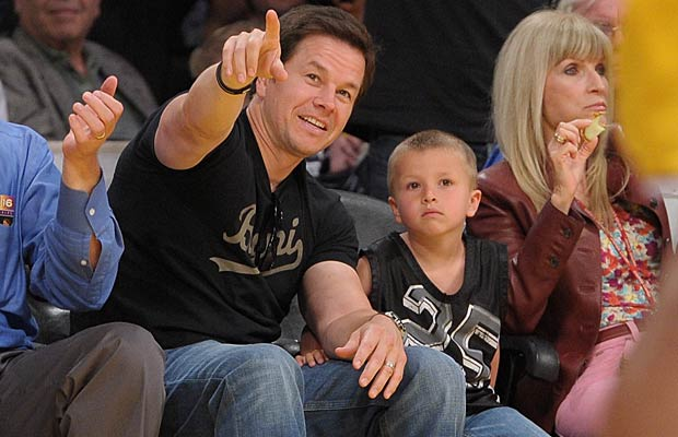 Mark Wahlberg and his son Michael check out the game. - Noel Vasquez/Getty Images