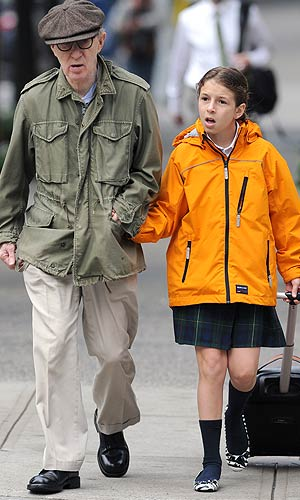 Woody Allen walks his daughter Manzie Tio to school in NYC. - Elder Ordonez/INFphoto.com
