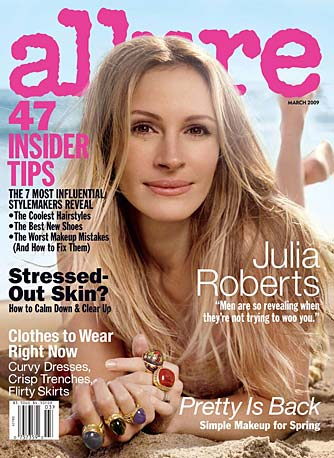 "Julia Roberts ""sounds off on men, money, and being over being America's Sweetheart"" in Allure's March 2009 issue. - Michael Thompson/Allure"
