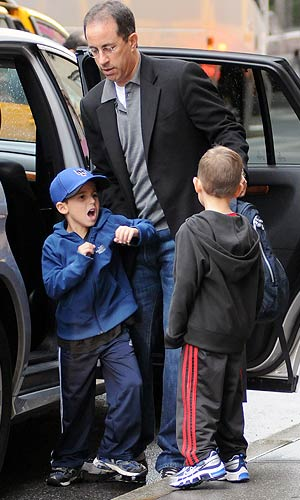 Jerry Seinfeld makes a school run with his two boys. - Elder Ordonez/INFphoto.com