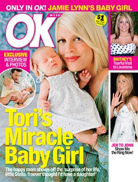 "Tori Spelling and her ""miracle"" baby Stella grace the cover of OK! magazine. - OK!"