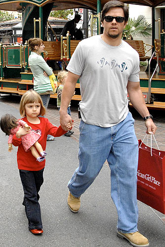 Mark Wahlberg and his daughter Ella load up on goodies at the American Girl Place in LA. - London Entertainment/Splash News