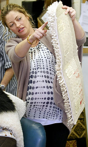 Expectant mom Rebecca Gayheart checks out rug samples at an LA store. - Sam Sharma/Nathanael Jones/PacificCoastNews.com