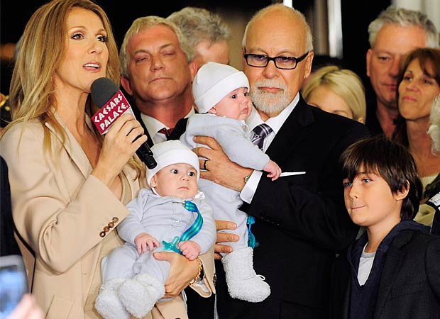 Celine Dion greeted the Las Vegas crowd with her husband Rene Angelil -- and their three sons -- by her side. - Ethan Miller/Getty Images