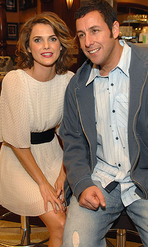 "Keri Russell and Adam Sandler hang out at the LA premiere of ""Bedtime Stories."" - John Shearer/WireImage.com"