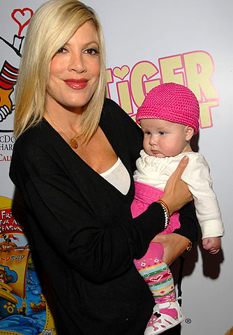 Tori Spelling shows off her 5-month-old baby girl, Stella Doreen. - Mark Sullivan/WireImage.com