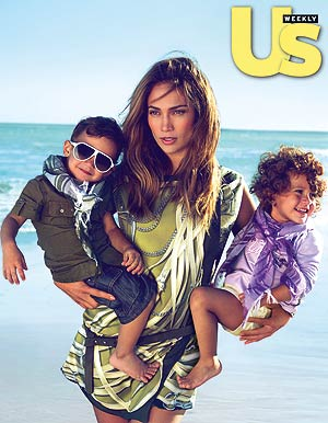 Jennifer Lopez strikes a pose for Gucci with her adorable twins Max and Emme. - UsMagazine.com/Gucci
