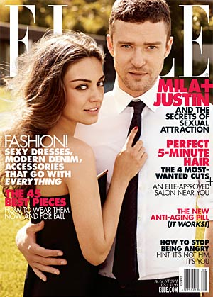 Justin Timberlake and Mila Kunis heat things up on the August cover of Elle . - Carter Smith