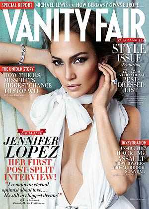 Jennifer Lopez talks to Vanity Fair about her breakup and why she still believes in love. - Mario Testino/Vanity Fair