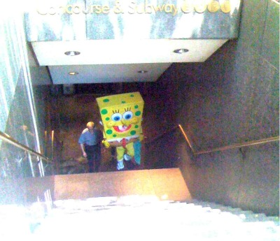 """I thought you guys would like the picture of the Sponge Bob perp walk."" - blog.beastieboys.com"