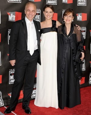 Natalie and her parents in January 2011. - Jon Kopaloff/FilmMagic