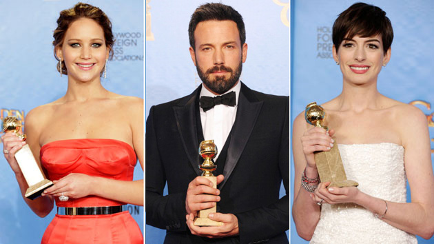 Jennifer Lawrence, Ben Affleck and Anne Hathaway (Photo:Jeff Vespa/WireImage)