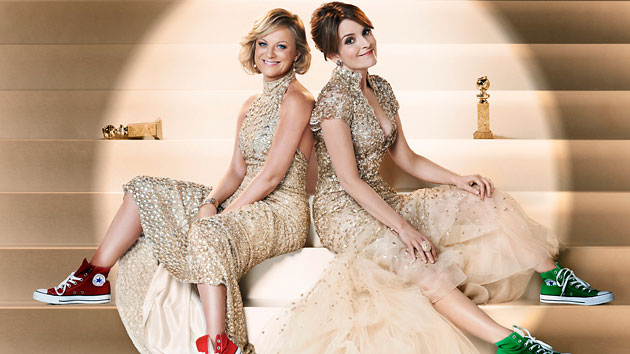 Amy Poehler, left, and Tina Fey get ready to host the Golden Globes (Photo: Gavin Bond/NBC)