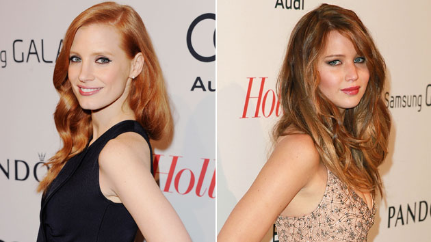 Jessica Chastain and Jennifer Lawrence (Photo: Jon Kopaloff/FilmMagic, Joe Scarnici/WireImage)