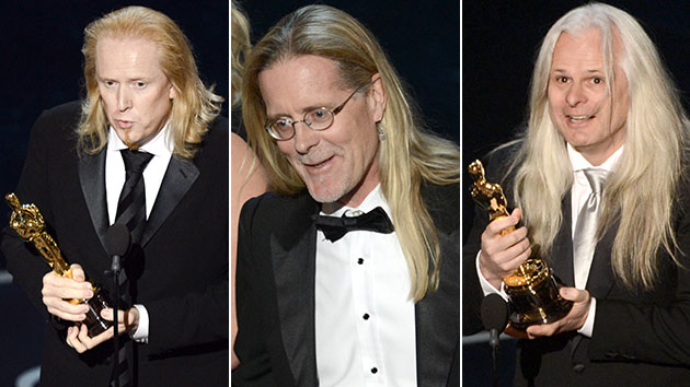 Oscar winners Paul N. J. Ottosson, Per Hallberg and Claudio Miranda (Photo: Kevin Winter/Getty Images)
