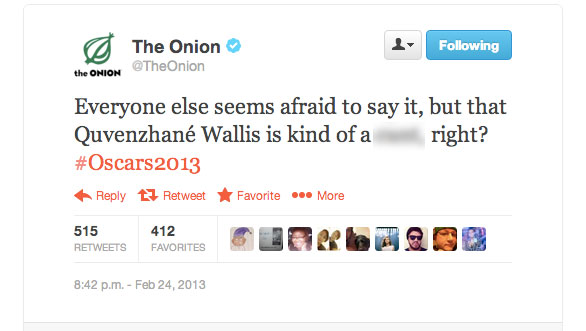 The Onion's deleted tweet (Expletive blurred)