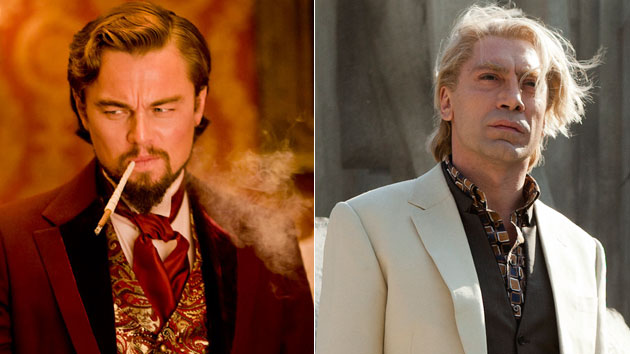 DiCaprio in 'Django Unchained,' Bardem in 'Skyfall' (Photo: Weinstein Company/Columbia Pictures)