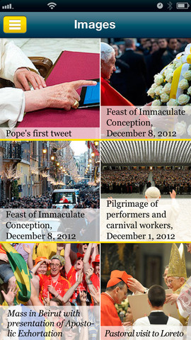 A screen shot of the Pope App (image via iTunes).