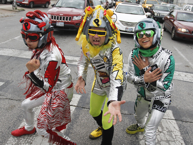 Members of Peelander-Z, from New York via Japan, in downtown Austin, Texas during the SXSW Music Festival on Wednesday, March 14, 2012.(Jack Plunkett/AP)