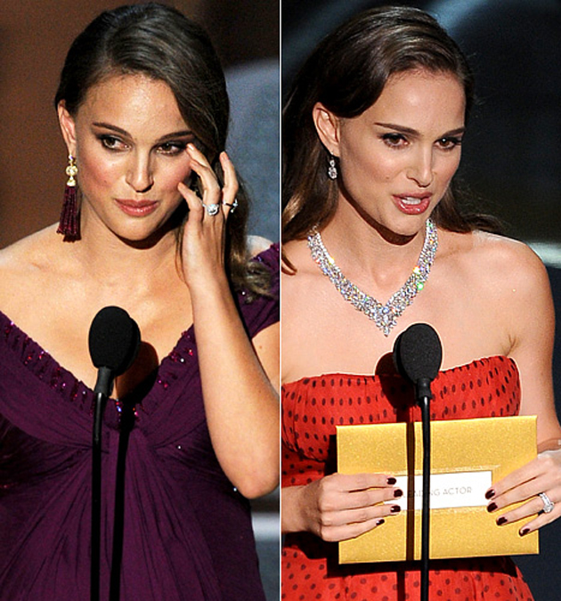Portman accepting her Oscar in 2011 (L) and presenting on Sunday (R)