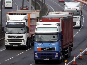 Trucks like these are called lorries in Britain. (Photo by Matt Cardy/Getty Images)