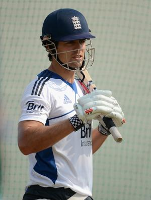 England captain Alastair Cook waits to bat during a nets session earlier this month in Ahmedabad, India. (Photo by Gareth Copley/Getty Images)