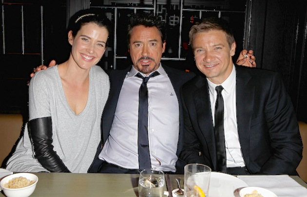 "Actors Cobie Smulders, Robert Downey, Jr. and Jeremy Rennner headed for Hakkasan restaurant in Mayfair after the European premiere of ""The Avengers"" in London. (Photo by Dave M. Benett/Getty Images)"