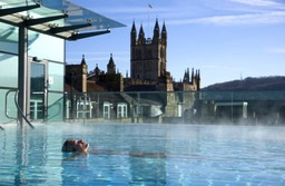 A woman relaxes in the New Royal Bath at Thermae Bath Spa, Britain's original thermal bath spa, in the busy city of Bath. (Photo by Jon Spaull/Visit Britain)