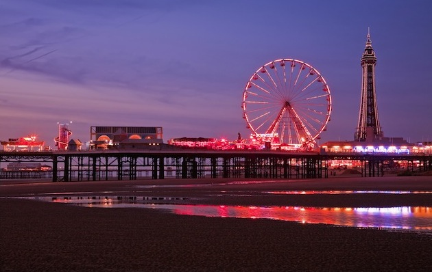 Blackpool's Central Pier at sunset, where working-class visitors danced under the stars in the 19th century. (Photo by Pawel Libera/ VisitBritain)