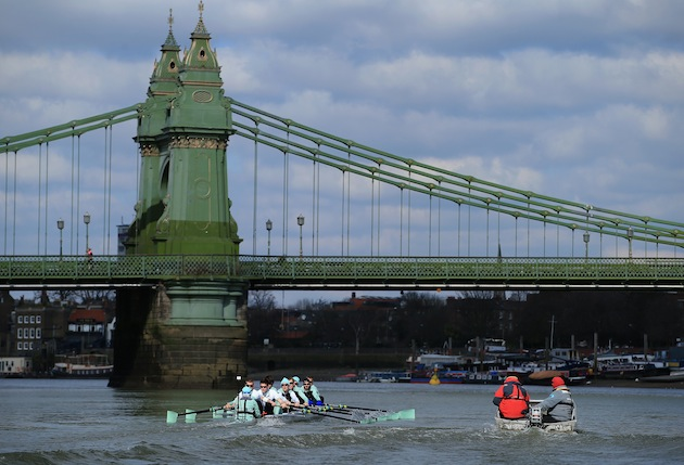 The Cambridge crew in action during a training outing on The River Thames before the 159th University Boat Race is on Sunday in London. (Photo by Richard Heathcote/Getty Images)
