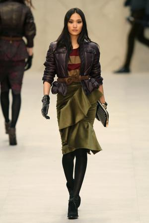 This ensemble from the Burberry Autumn/Winter 2012 runway at London Fashion Week included a below-the-knee skirt and a combination of textures and fabrics. (Photo by Antonio de Moraes Barros Filho/WireImage)