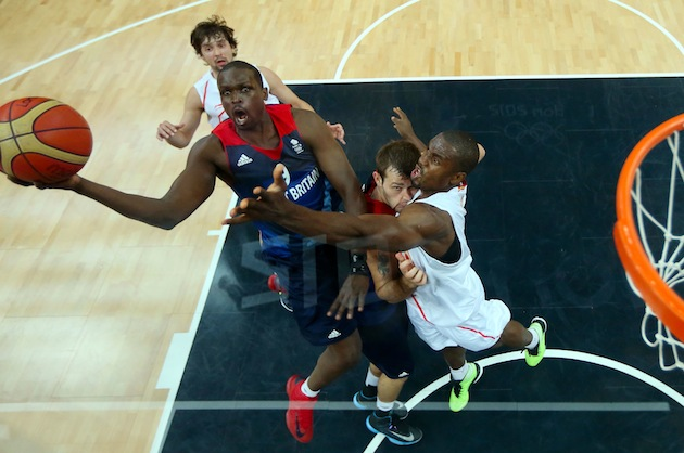 Luol Deng (7), shown playing for Team Great Britain during the 2012 London Summer Games, is one of a handful of British NBA basketball players. (Photo by Christian Petersen/Getty Images)
