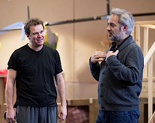Douglas Hodge and director Sam Mendes rehearsing for 'Charlie and the Chocolate Factory.' (Photo courtesy of London Palladium)