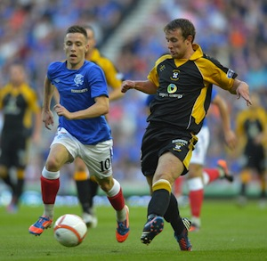 Barrie McKay of Glasgow Rangers challenges Scott Durie of East Fife during a Scottish Communities League Cup game last year. (Picture by Mark Runnacles/Getty Images)