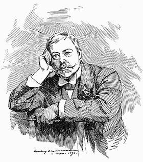 Edward Linley Sambourne, a famous political cartoonist of the Victorian era, is shown here in a self-portrait from 1891 (Public domain, via Wikimedia Commons)