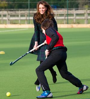 Although she's had severe morning sickness, the Duchess of Cambridge felt well enough to play field hockey at a St. Andrews Day celebration in Scotland last week. (Photo by Arthur Edwards - WPA Pool/Getty Images)