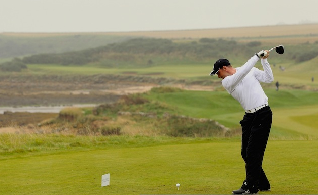 "England cricket captain Andrew Strauss in action during The Alfred Dunhill Links Championship at the Kingsbarns Golf Links, in the heart of Scotland's ""home of golf."" (Photo by Andrew Redington/Getty Images)"