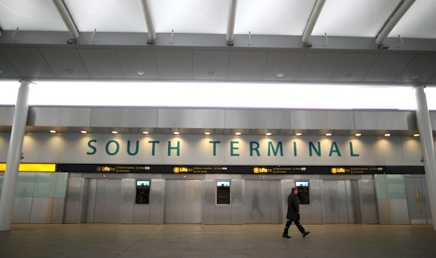 A passenger walks through Gatwick's South Terminal. There are a few options for travel from the UK's second busiest airport into London. (Photo by Jordan Mansfield/Getty Images)