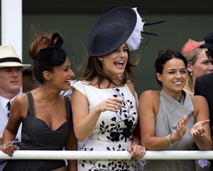Ladies' Day during the Glorious Goodwood festival draws beautiful people (shown here: Preeya Kalidas, Kelly Brook and Michelle Rodriguez last year) dressed in fancy duds. (Photo by Indigo/Getty Images)